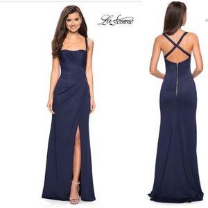 NWT La Femme Navy Blue Satin Gown Size 4